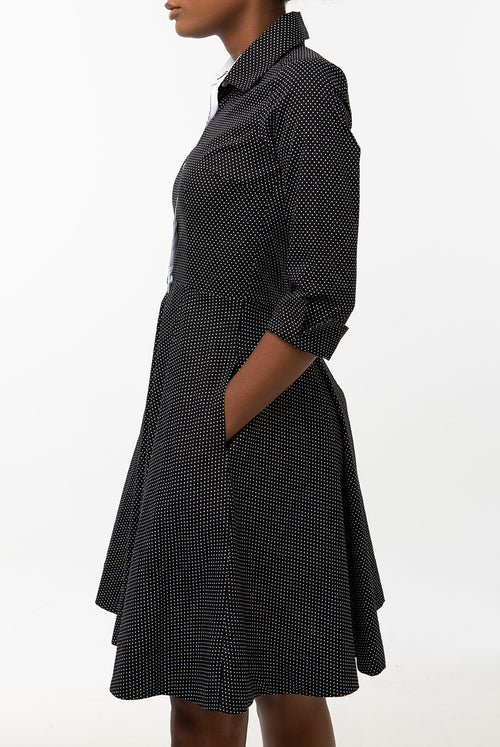 Classic Pleated Keneea Linton Shirtdress —  Black and white polka dots