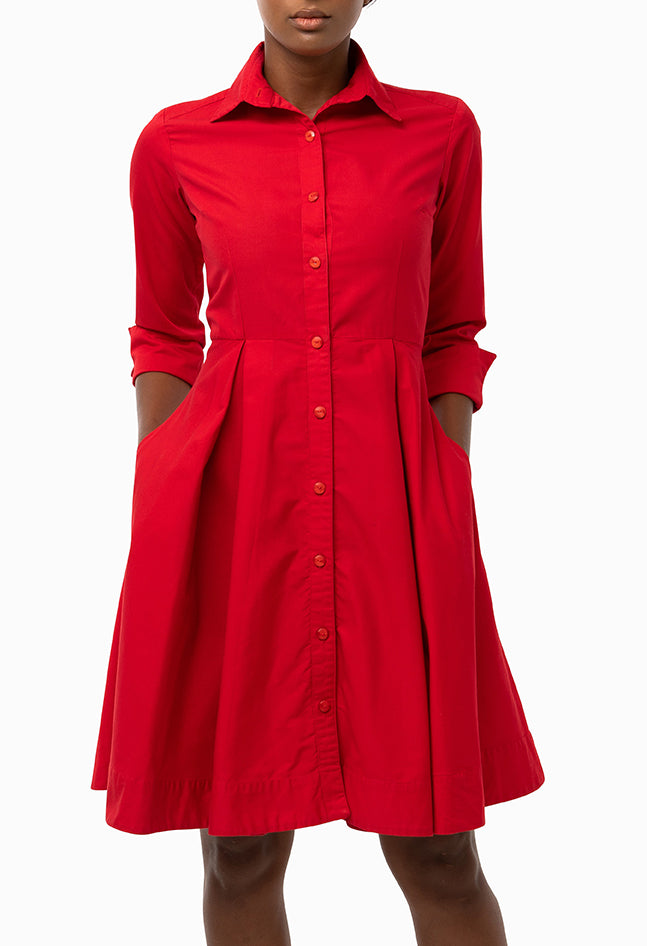 Classic Pleated Keneea Linton Shirtdress — Red