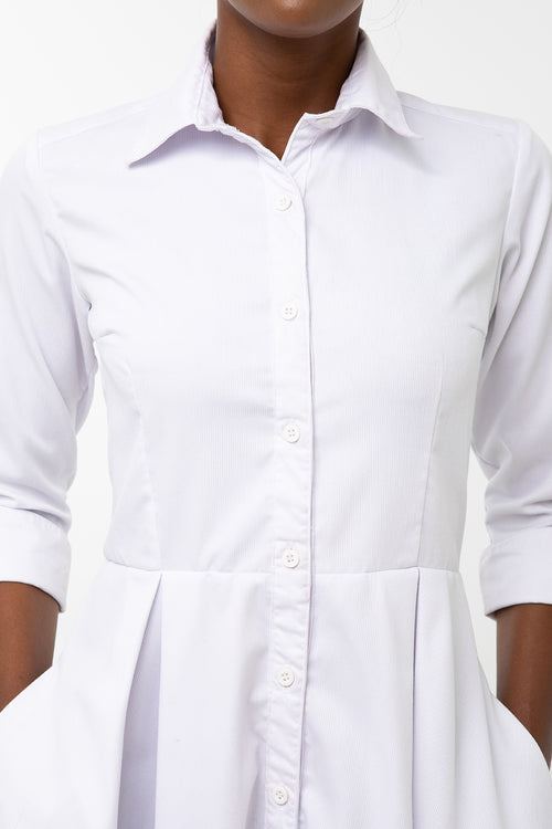 Classic Pleated Keneea Linton Shirtdress — White