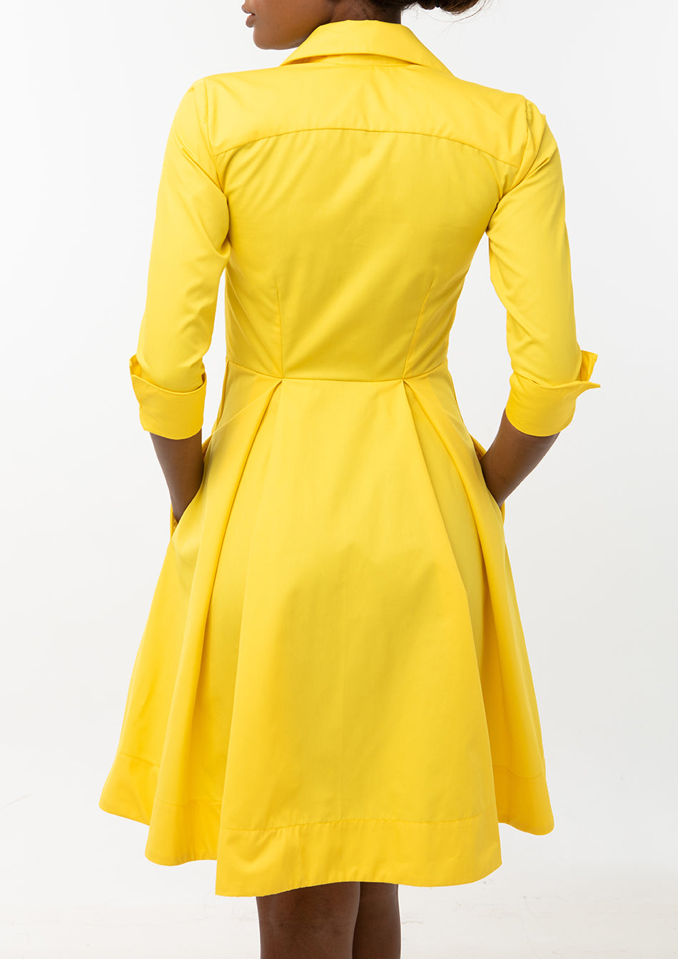 Classic Pleated Keneea Linton Shirtdress — Yellow