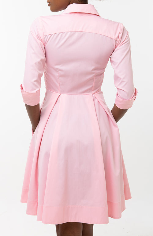Classic Pleated Keneea Linton Shirtdress — Pink