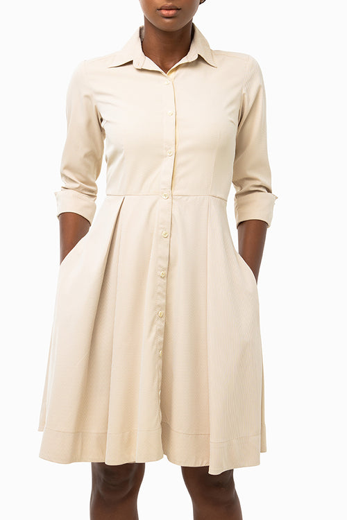 Classic Pleated Keneea Linton Shirtdress — Cream (pin stripes)