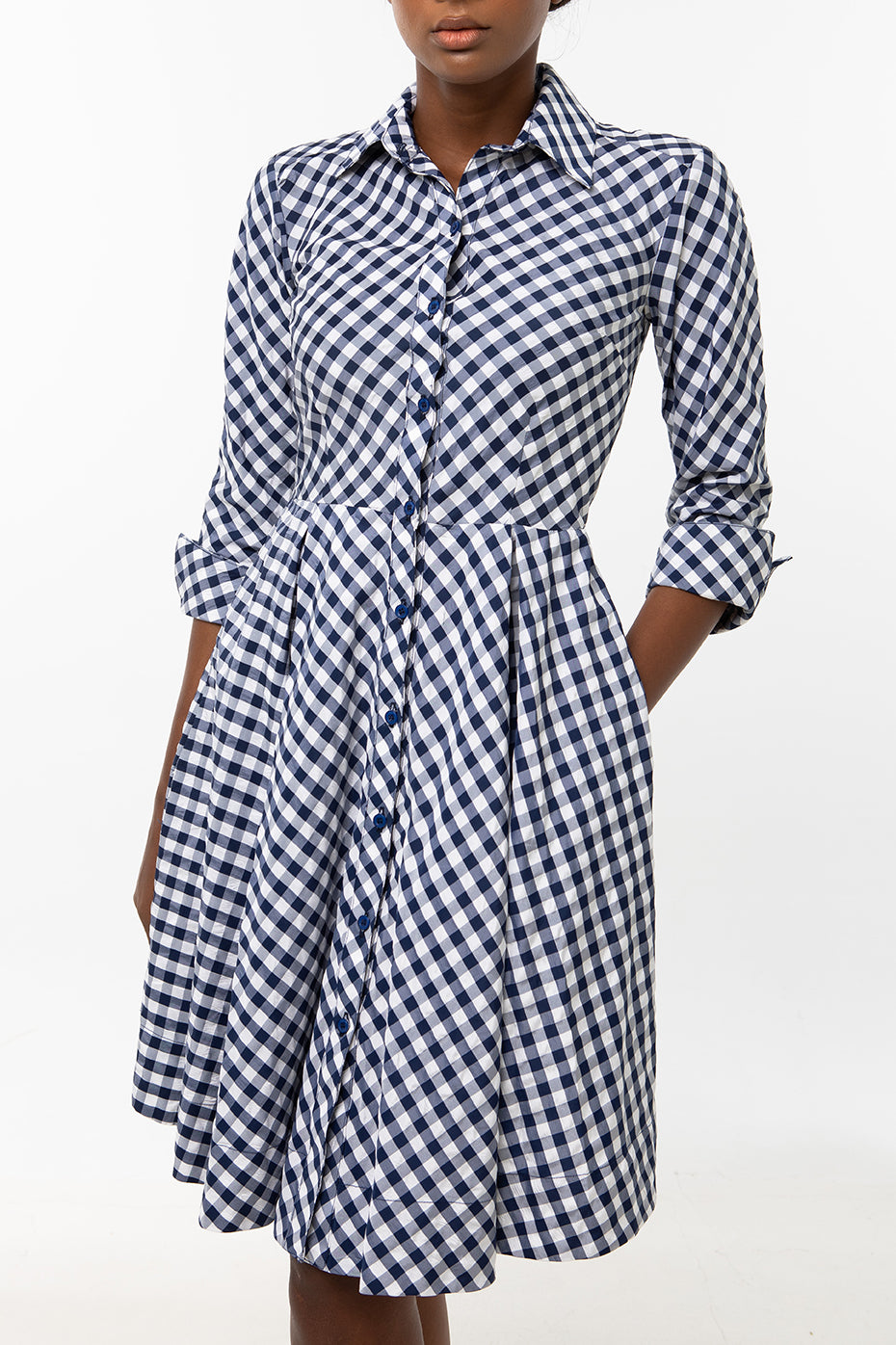 Classic Pleated Keneea Linton Shirtdress — Blue and white gingham