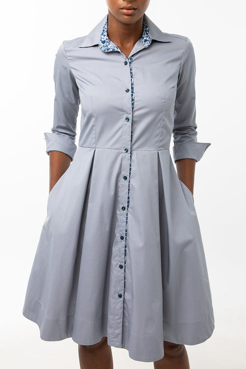Classic Pleated Keneea Linton Shirtdress —  Gray (Blue floral placket)