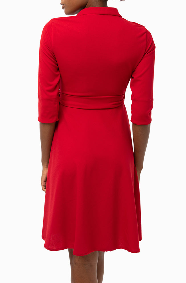 Classic Keneea Linton Wrap-dress — Red