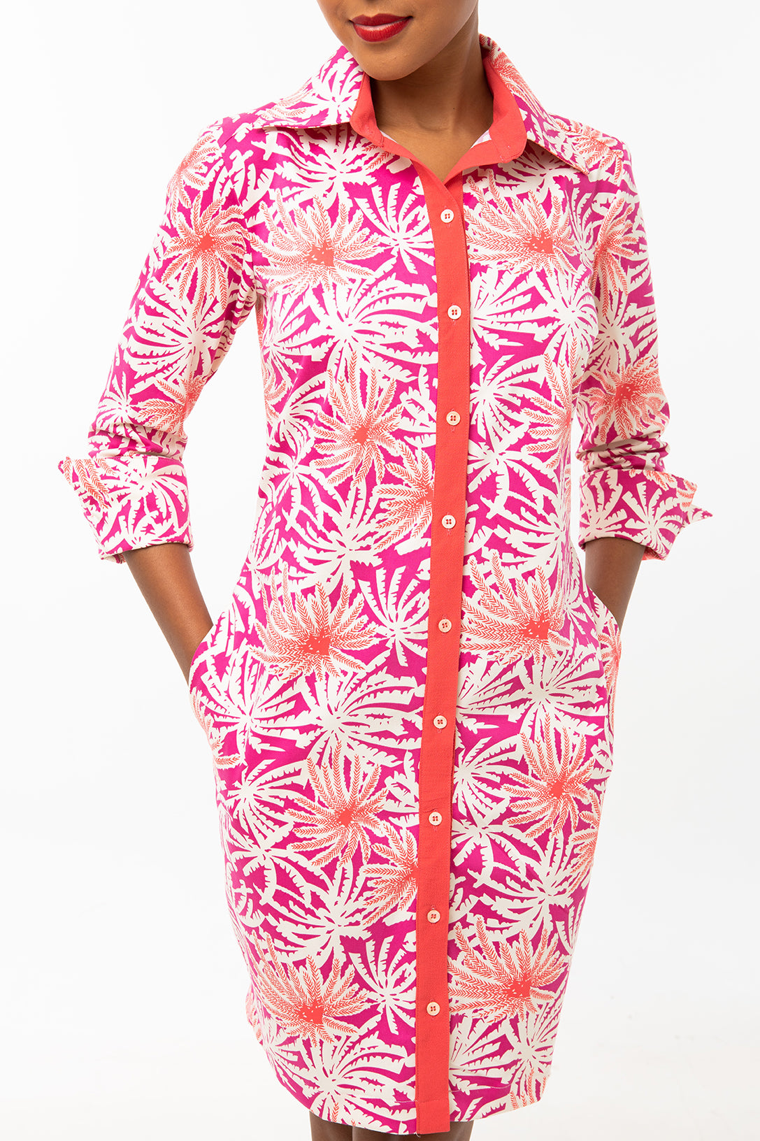Classic Straight Keneea Linton Shirtdress — Coral and pink (palm tree print)