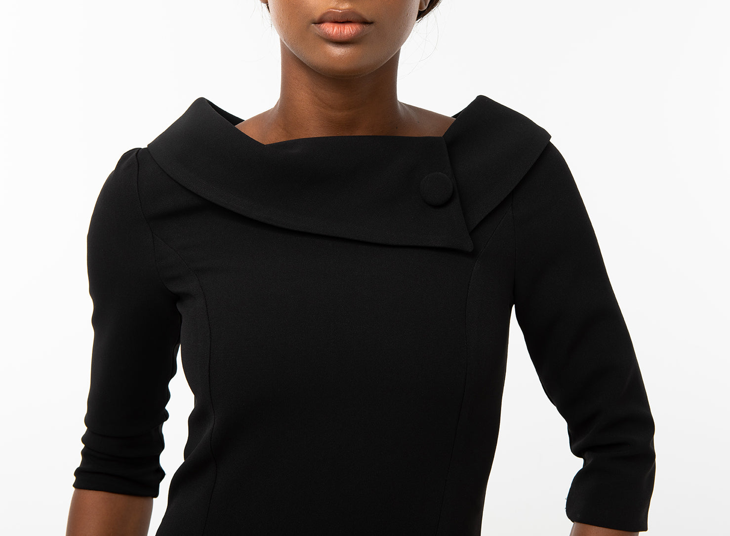 Classic Keneea Linton Cowl-Neck Dress — Black