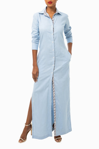 Classic Pleated Keneea Linton Shirtdress — Royal Blue