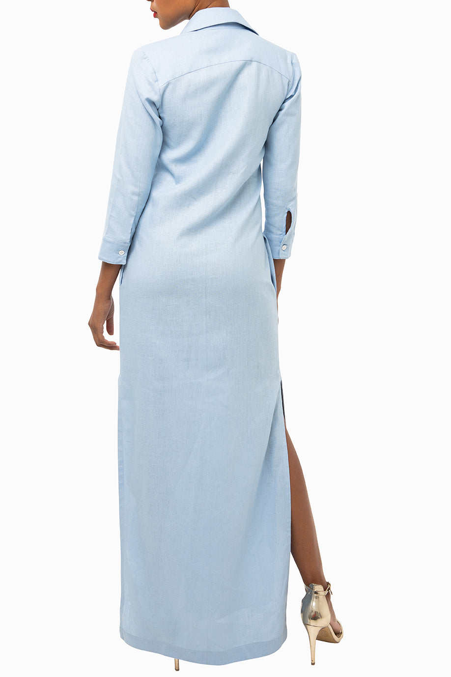 Classic Straight Maxi Keneea Linton Shirtdress — Sky Blue (blue floral plackets)