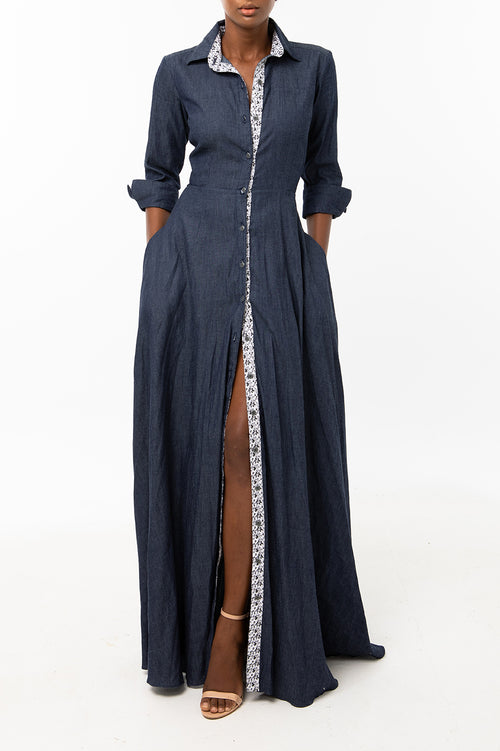 Classic Flared Maxi Keneea Linton Shirtdress — Navy Blue (floral plackets)