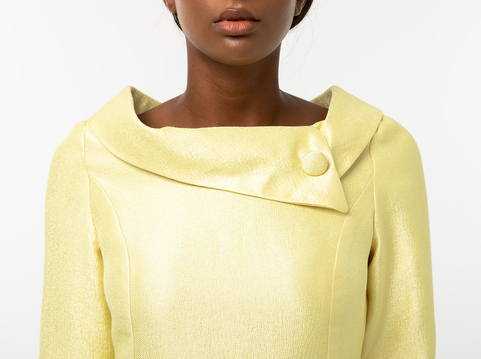 Classic Keneea Linton Cowl-Neck Dress — Yellow