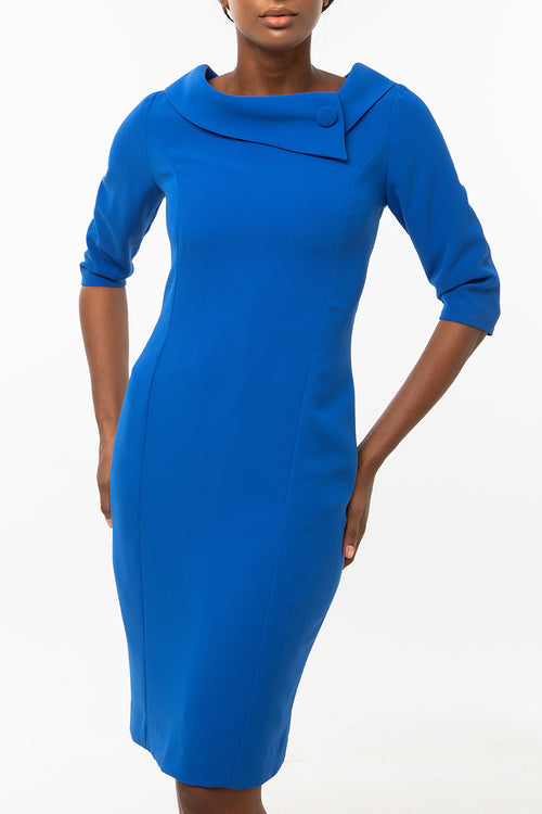 Classic Keneea Linton Cowl-Neck Dress — Blue
