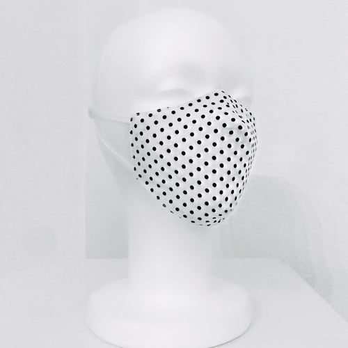 Keneea Linton White Cotton Mask with Black Polka-dots