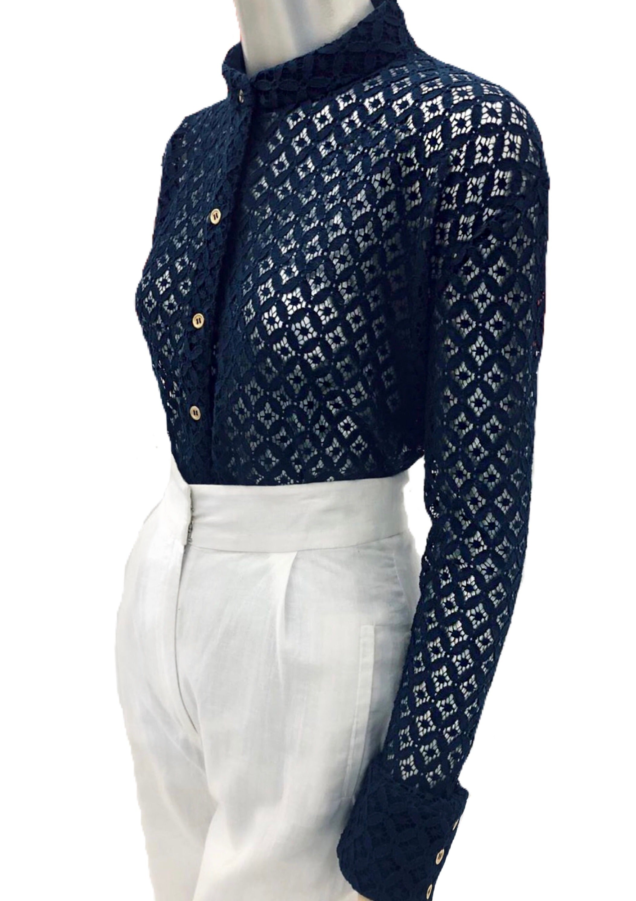 Keneea Linton Navy Blue Lace Blouse with Chiffon