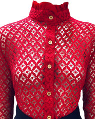 Keneea Linton Red Lace Blouse with Chiffon