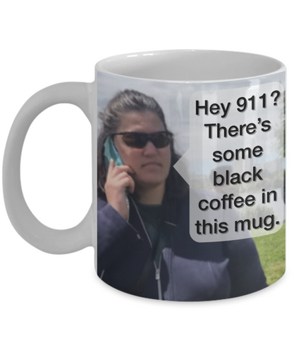 Scary Black Coffee Crazy Lady Mug