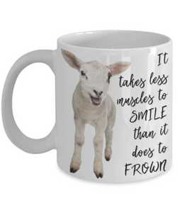 """Less Muscles to Smile"" Mug"