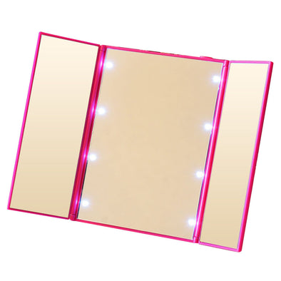 Beautiful Pink Tri-Fold Lighted Travel Makeup Mirror Led Folding Mirrors Illuminating Foldable Mirror ONLY