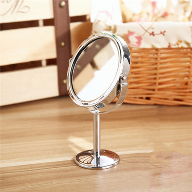 Stainless Steel Double Sided Magnifying Makeup Table Mirror Round Rotary Desk Mirror ONLY