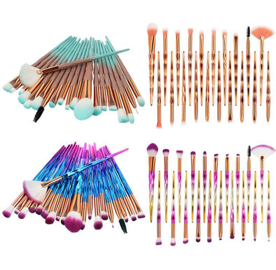 Full Multi Color 20PCS Make Up Foundation Eyebrow Eyeliner Blush Cosmetic Concealer Brushes