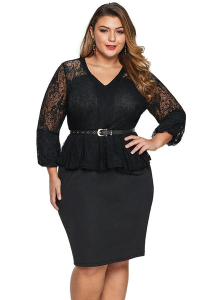 Black Lace Long Sleeve Plus Size Peplum Dress