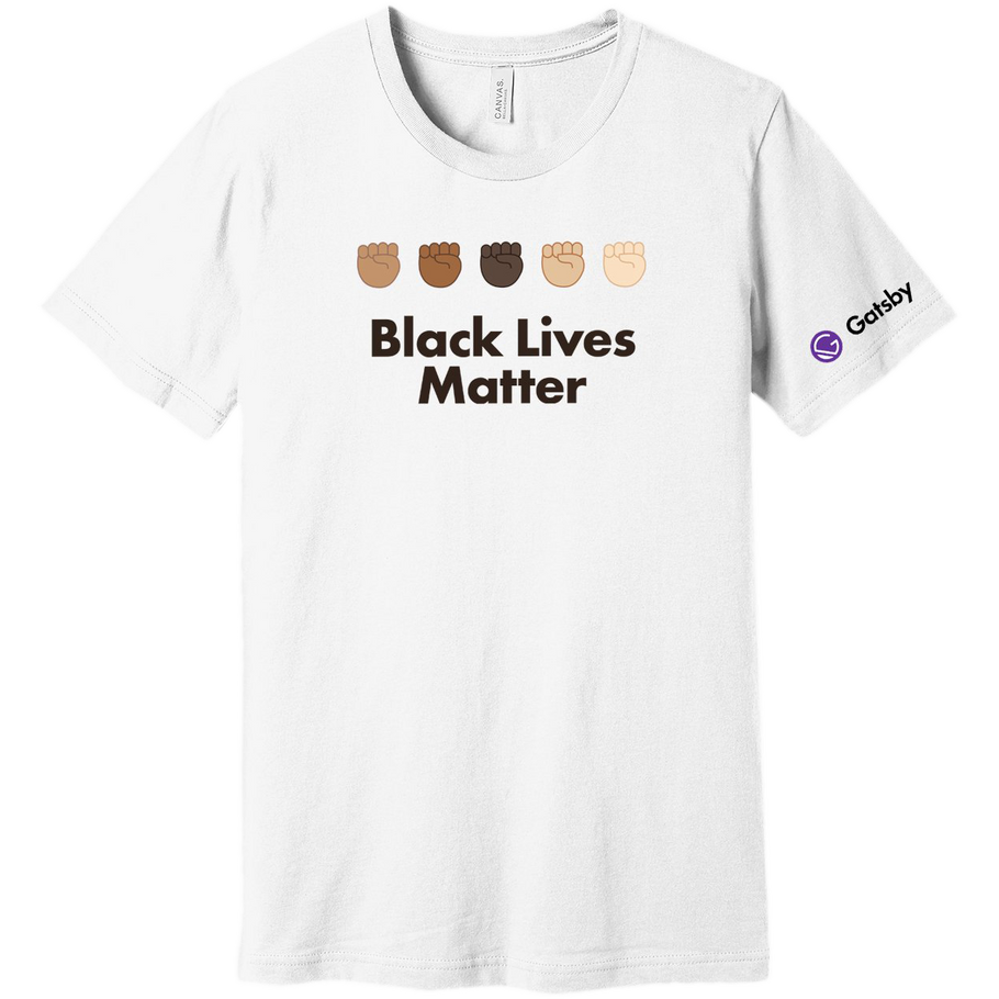 Shirt with 5 fists and Black Lives Matter as a text below