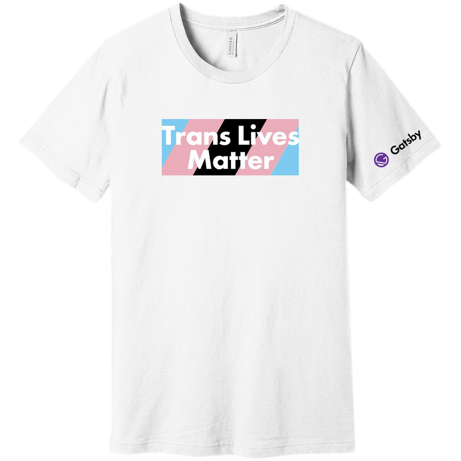 Shirt with Trans Lives Matter Text on the background of the Trans flag colors
