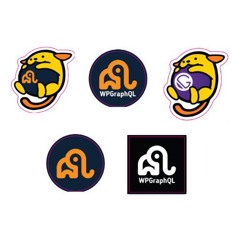 5 Stickers with various logos of WPGraphQL and the Source Plugin