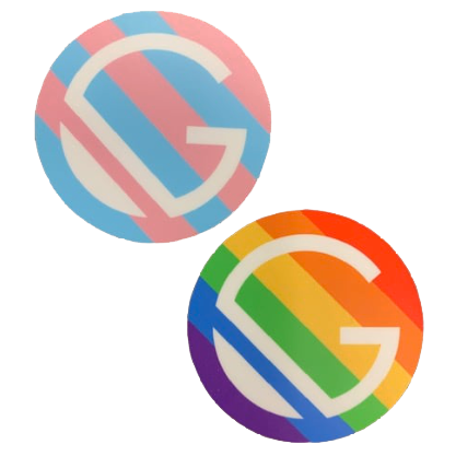 Two stickers showing the Trans and LGBTQ flag colors