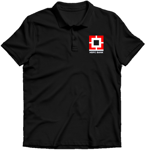 HDFC Logo Polo T-shirt- Black