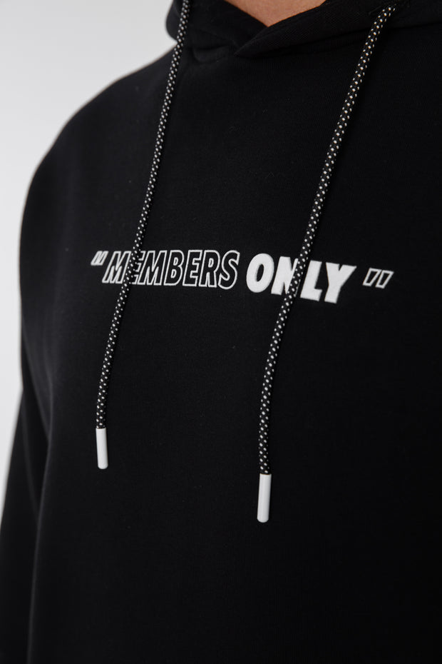 Oversized Slogan Hoodie · Midnight Black