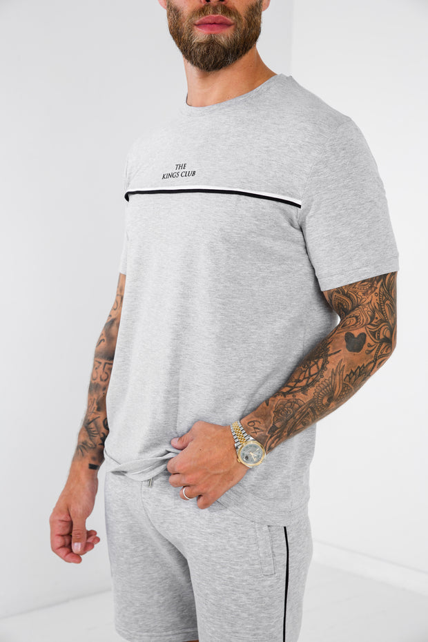 Piped Tee · Stone Grey