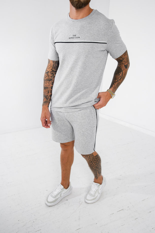 Piped Short · Stone Grey