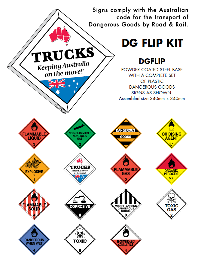 Signage - Dangerous Goods Signs - Flip Kit - 340mm x 340mm