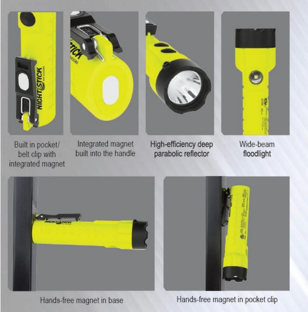 XPP-5422GMX - Intrinsically Safe Dual-Light Flashlight/Floodlight - Nightstick Safety Torch with Integrated Magnets