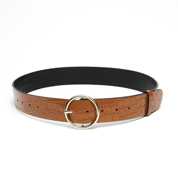 Nakedvice The Compass Tan Caramel Croc Belt