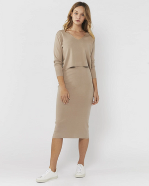 Everly Collective All I Want Skirt Latte