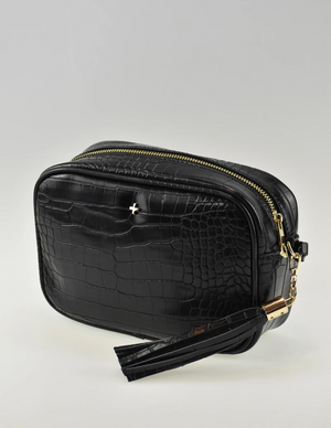 Peta and Jain The Gracie Cross Body Bag Black Croc