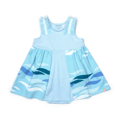 EASYEO Ocean Waves Ruffle Romper Dress