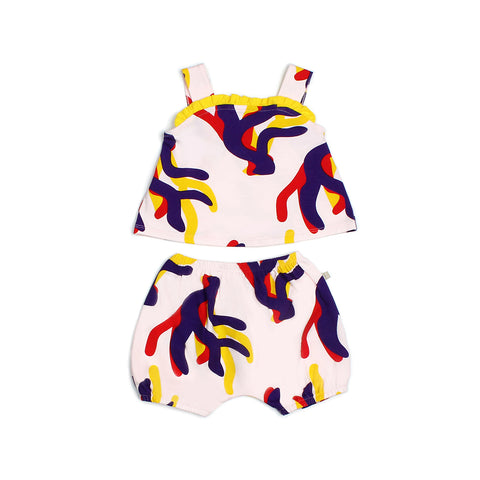 Ocean Waves 2pc Corals Baby Ruffles Romper Shorts