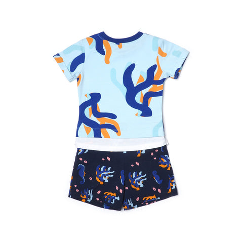 EASYEO Ocean Waves Coral Romper Shorts