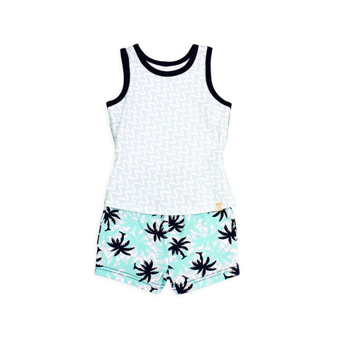 EASYEO Tropical Ripple Tank Romper Shorts