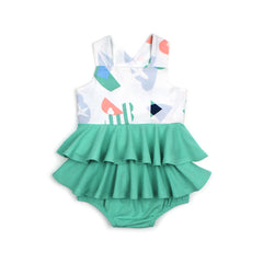 EASYEO Panorama Imagery Flash Cross-back Ruffle Baby Dress