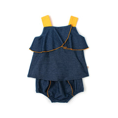 EASYEO Sleeveless Denim Ruffle Baby Dress