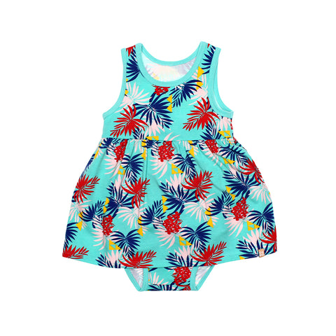 EASYEO Tropical Leaves Tank Romper Dress