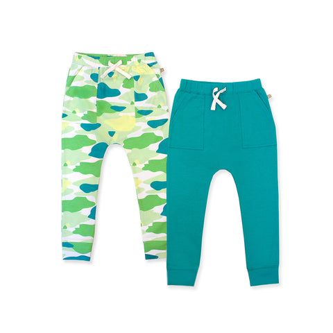 Camo Flash Harem Pants 2-Piece Bundle Set (Green)