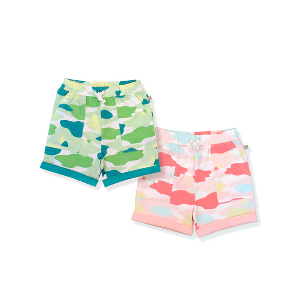Camo Flash Toddler Casual Shorts 2-Piece Bundle (Pink/Green)