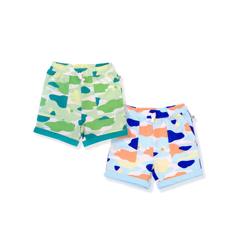 Camo Flash Toddler Casual Shorts 2-Piece Bundle (Blue/Green)