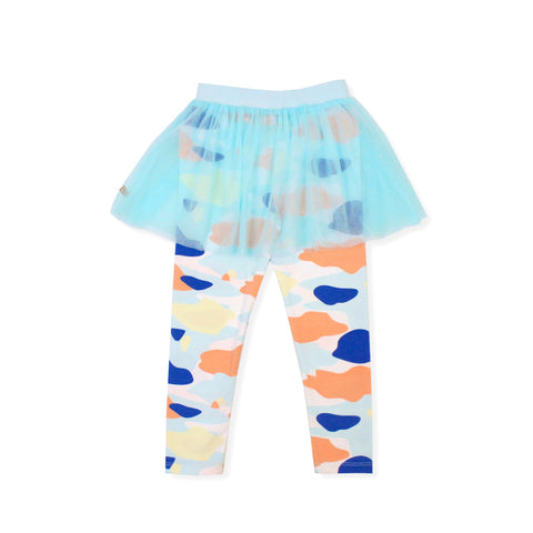 Camo Flash Tulle Skirt Leggings (Blue)