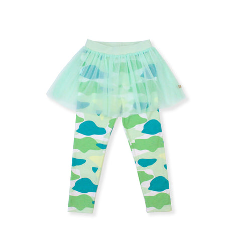 Camo Flash Tulle Skirt Leggings (Green)